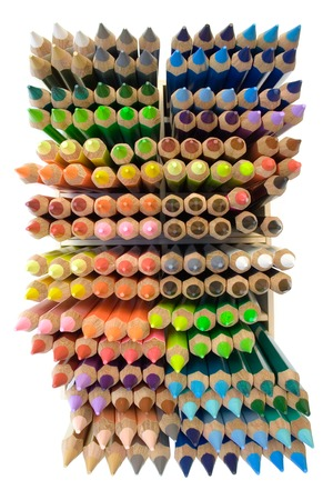 Top view on a box of colorful pencils isolated on a white background. photo