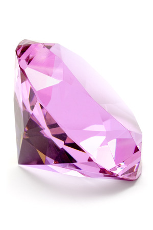 Pink gem isolated on a white background. Stock Photo