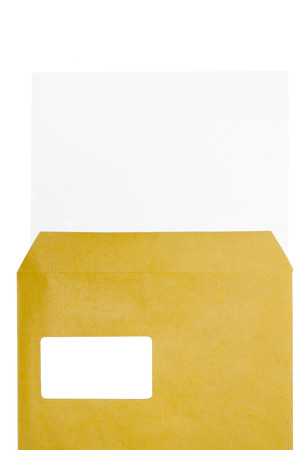 adresses: Sheet of paper in a brown envelope. Isolated on a white background.