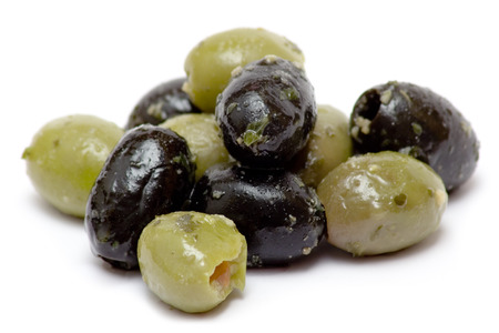 Bunch of oily olives isolated on a white background. photo