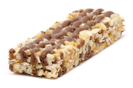 Healthy granola bar isolated on a white background. Stock Photo
