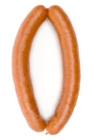 Pair of hot sausages isolated on a white background.
