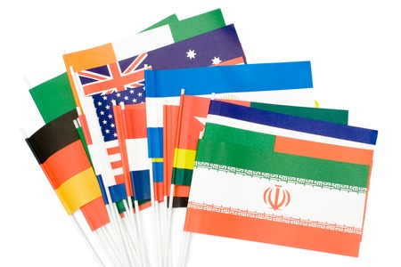 Various flags isolated on a white background.