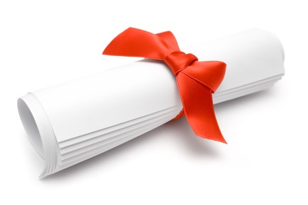 certificate bow: Rolled certificate with a red ribbon isolated on a white background.