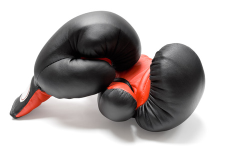 opponents: Pair of boxing gloves isolated on a white background.