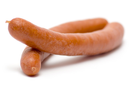 edibles: Hot sausages isolated on a white background. Stock Photo