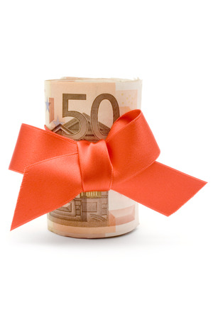 commissions: Bundle of 50 Euro banknotes with a red ribbon isolated on a white background.