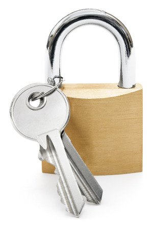Two keys attached to a common padlock.