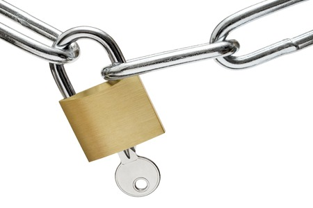 Common padlock with key and metal chain links isolated on a white background.