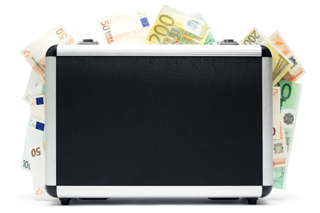 Standing money case full of banknotes. Isolated on a white background. photo