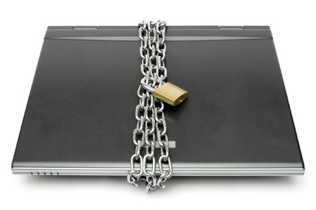 chainlinks: Chain and padlock protecting a dark notebook. Isolated on a white background.