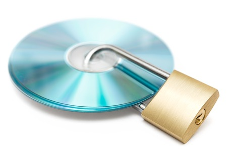 Locked CDs isolated on a white background.