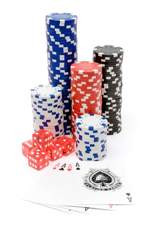 Poker set isolated on a white background.