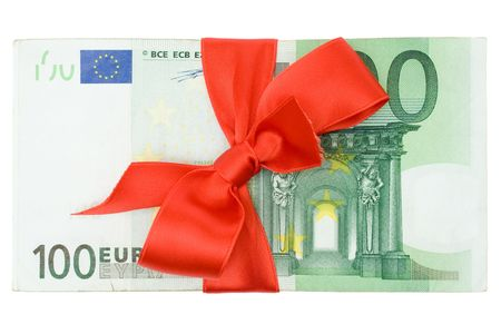 commissions: Stack of one hundred Euro banknotes decorated with a red ribbon. Isolated on a white background.