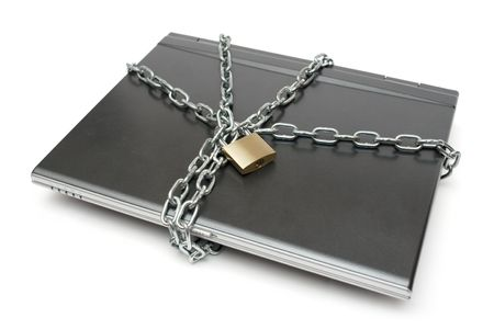 chainlinks: Padlock, chain and laptop isolated on a white background.