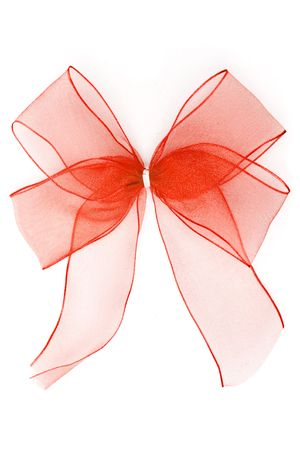 Red bow isolated on a white background. Stock Photo