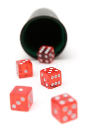 chance: Game of chance. Red dice isolated on a white background.