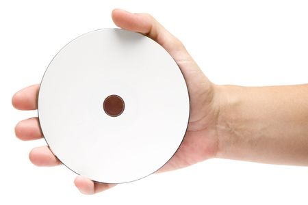 Female hand holding a blank disc. Isolated on a white background.