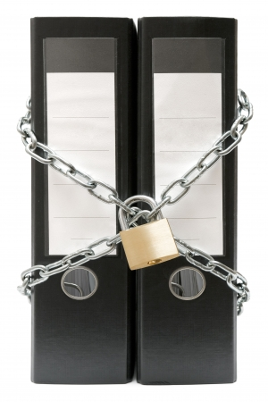 Two black file folders protected by a chain and a padlock. Isolated on a white background.