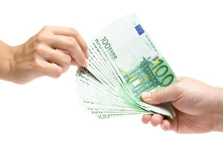 moneyed: Female hand grabbing Euro banknotes. Isolated on a white background.