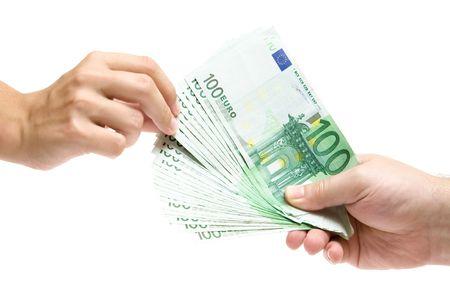 rewarding: Female hand grabbing Euro banknotes. Isolated on a white background.