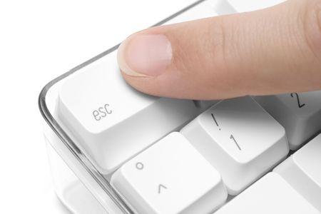 Forefinger pressing the escape button. White background photo