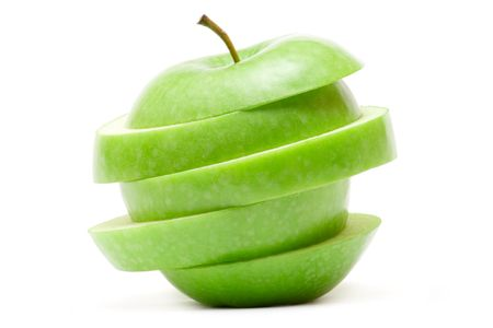 Sliced green apple isolated on a white background. Banque d'images