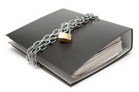 protegido: Secured archivo de la carpeta aisladas sobre un fondo blanco.