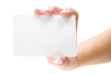Businesswoman holding a blank card. Isolated on a white background.