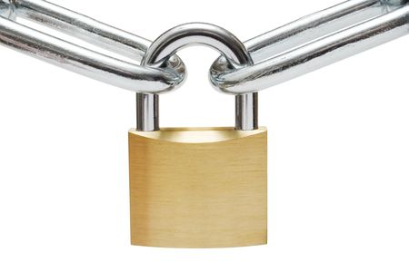 Golden padlock connecting two chain links. Isolated on a white background.