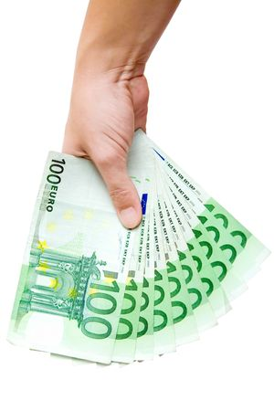 moneyed: Hand holding a bunch of Euro banknotes. Isolated on a white background. Stock Photo