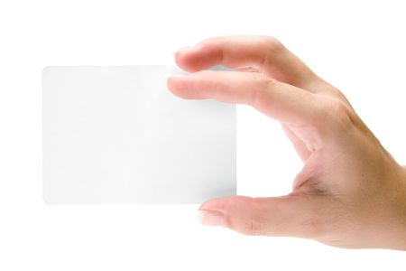 ticket office: Female hand holding a blank card. Isolated on a white background.
