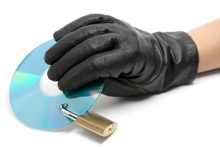 data theft: Data theft. Isolated on a white background. Stock Photo