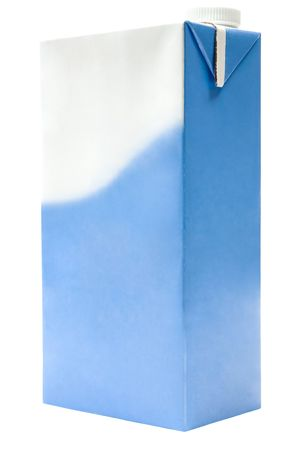 Blank milk carton isolated on a white background.