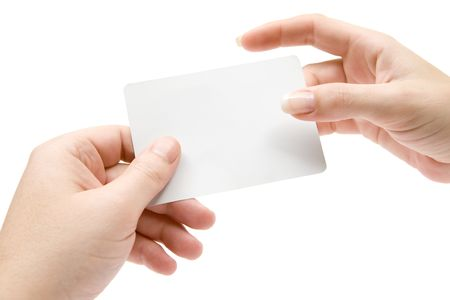 give out: Handing over a business card. Isolated on a white background.