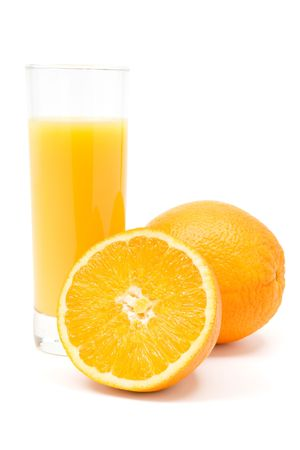 Glass of juice and oranges. White background. photo