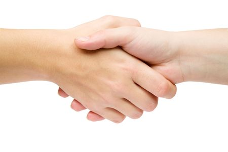 forgiving: Handshake isolated on a white background.