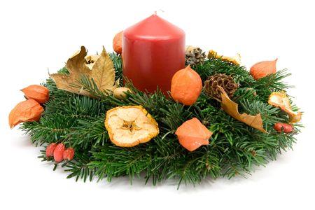 evergreen wreaths: Decorative Advent wreath. White background. Stock Photo