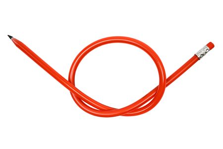 Knotted red pencil isolated on a white background. photo