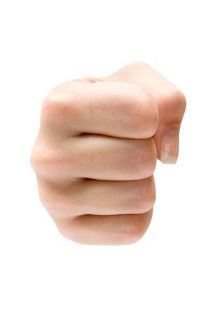 Female fist isolated on a white background. photo