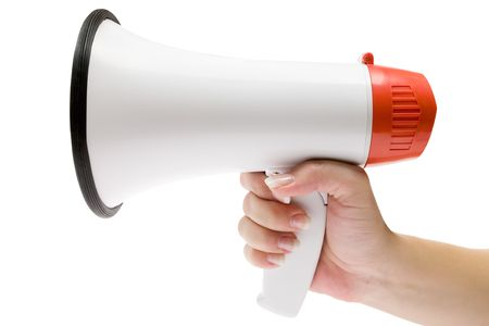 loudness: Holding a white megaphone. Isolated on a white background. Stock Photo
