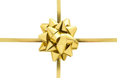 Gift ribbon and bow isolated on a white background.