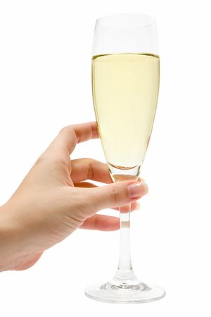 champagne flute: Female hand holding a champagne glass. Isolated on a white background.