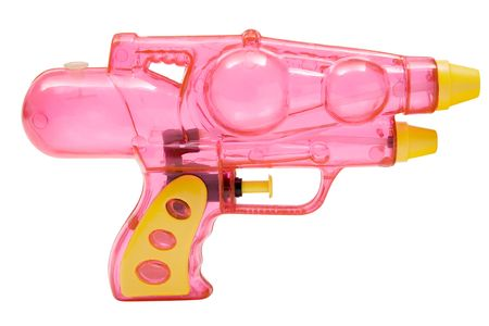 watergun: Plastic water pistol isolated on a white background. Stock Photo