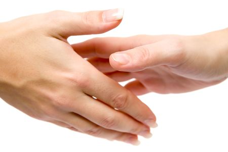 perdonar: Apret�n de manos aislado en un fondo blanco.
