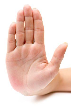 gestos: Mano signo aislado sobre un fondo blanco.  Foto de archivo