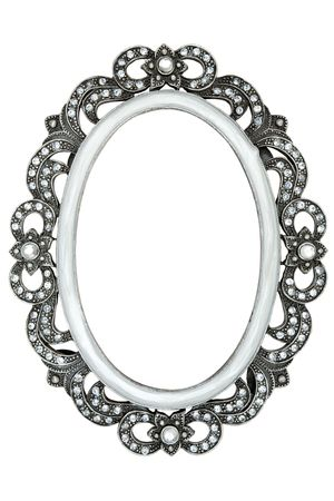picture framing: Metal frame with tiny jewels. Isolated on a white background.