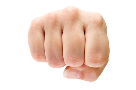Female fist isolated on a white background.