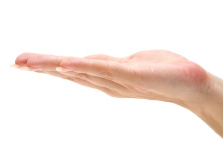 Female hand isolated on a white background.