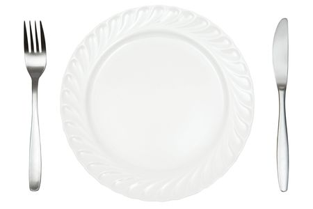 Plate, fork and knife isolated on a white background.